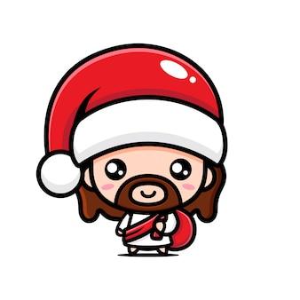 산타 모자를 쓰고 예수 그리스도의 벡터 디자인