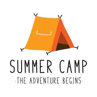 オレンジ色のキャンプテントのベクトルデザイン