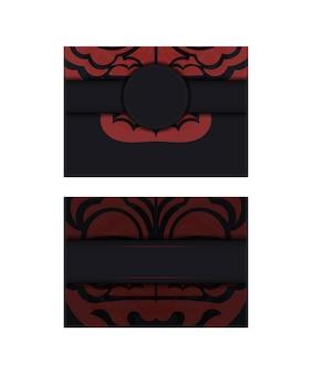 Векторный дизайн открытки черного цвета с лицом с узорами китайского дракона.