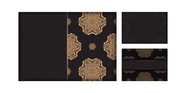 고급 패턴이 있는 검은색 엽서의 벡터 디자인. 텍스트와 빈티지 장식품을 위한 공간이 있는 초대 카드 디자인.