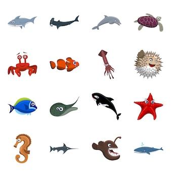 海と動物のアイコンのベクターデザイン。海と海のセットのコレクション