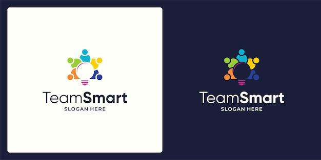 소셜 네트워킹 팀 로고 및 조명 로고의 벡터 디자인.