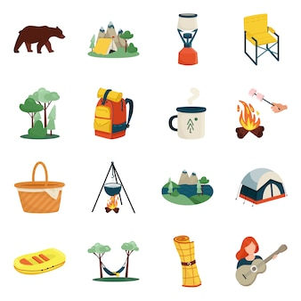 Vector design of picnic and nature icon. collection of picnic and travel stock symbol for web.