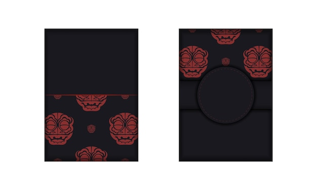 Vector design of postcard black colors with face with chinese dragon patterns.