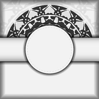 ベクトルデザインはがき黒の曼荼羅パターンと白い色。あなたのテキストとギリシャの装飾品のためのスペースを備えた招待状のデザイン。 Premiumベクター