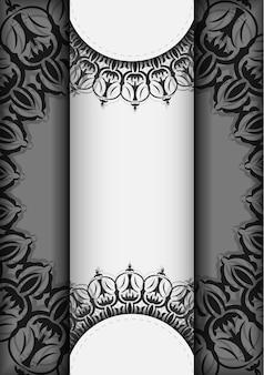 벡터 디자인 엽서 만다라와 흰색 색상입니다. 텍스트와 빈티지 장식품을 위한 공간이 있는 초대 카드 디자인.