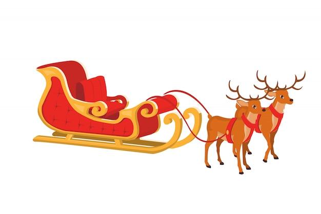 Vector design of santa sleigh with reindeer