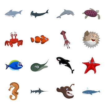 Vector design of sea and animal icon. collection of sea and marine set