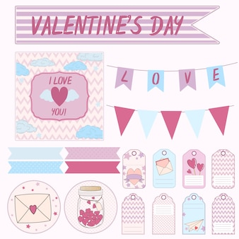 Vector design set elements for a gift on valentine's day