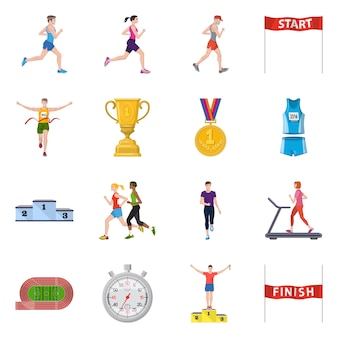 Vector design of step and sprint logo. set of step and sprinter set