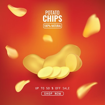 Vector design template for chips advertising.