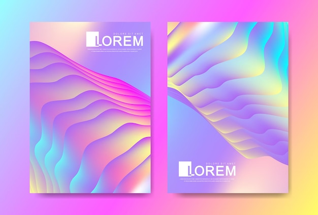추상 유체 모양, 페인트 튀김, 잉크 방울이 있는 트렌디한 생생한 그라데이션 색상의 벡터 디자인 템플릿. 미래 지향적인 포스터, 배너, 브로셔, 전단지 및 표지 디자인. 추상 유체 3d 모양입니다.