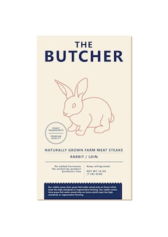 Vector design template label for packaging with illustration silhouette - farm rabbit. abstract symbol for meat products.