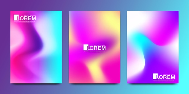 Vector design template in trendy vibrant gradient colors with abstract fluid shapes