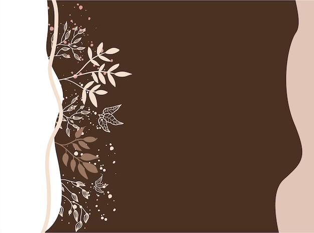 テキスト、花、葉のコピースペースを備えたシンプルでモダンなスタイルのベクターデザインテンプレート-結婚式の招待状の背景とフレーム、ソーシャルメディアストーリーの壁紙