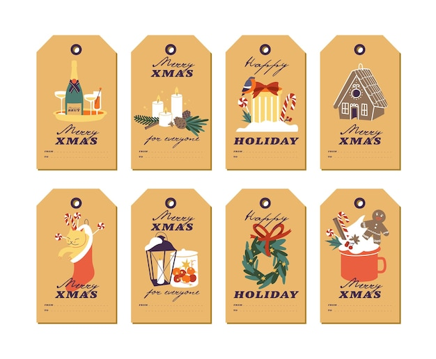 크리스마스 인사말 요소와 공예 종이에 전통적인 크리스마스 속성이 있는 벡터 디자인. 활판 인쇄술과 화려한 아이콘으로 설정된 크리스마스 태그 또는 레이블.