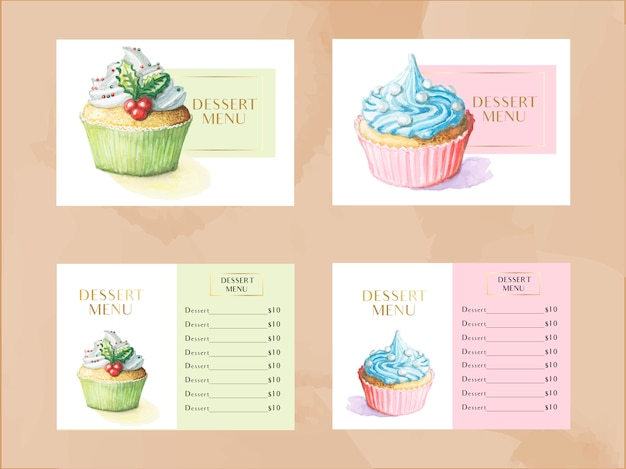 Vector dessert menu template set with watercolor cupcakes