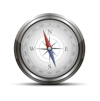 Vector detrailed compass isolated on white.