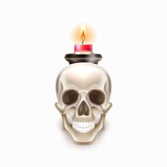 Vector dia de los muertos day of dead skull candle