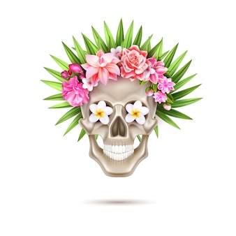 Vector dia de los muertos day of dead skull flower