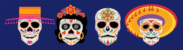 ベクトルディアデロスムエルトス死者の日またはメキシコハロウィーンの頭蓋骨コレクションシュガースカルベクトル