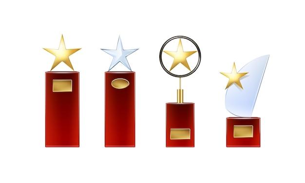Вектор различных золотых, стеклянных звездных трофеев с большой красной базой и золотыми вывесками для вида спереди copyspace на белом фоне