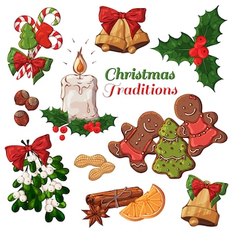 Vector different kinds of christmas symbols and sweets.
