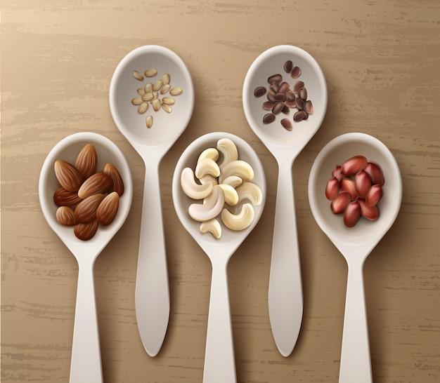 Вектор различных орехов в белых ложках арахиса, кешью, миндаля и кедра, вид сверху на деревянной поверхности