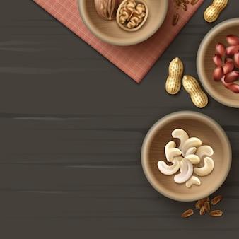 Вектор различных орехов в деревянных мисках, арахис, кешью и грецкие орехи вид сверху на темно-черной поверхности с клетчатой салфеткой