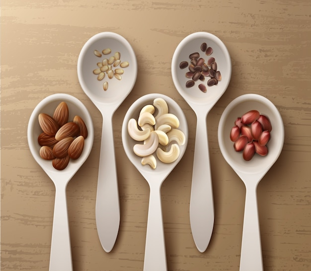 Vector different nuts in white spoons peanuts, cashew, almond and cedar top view on wooden surface