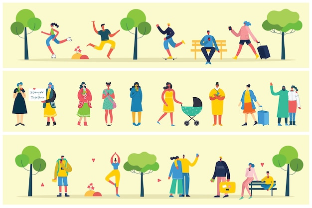 Vector of different people, couple doing activities, walking and have a rest outdoor, in the forest, park and at home in the modern flat style