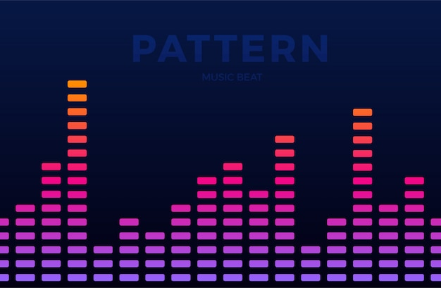 Vector digital music equalizer audio waves horizontal seamless pattern