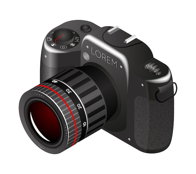 ベクトルデジタル写真カメラ。機器のフォトカメラ、プロの技術、ズームとフォーカス