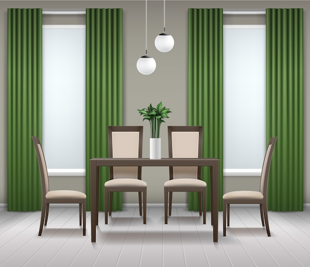 Vector dining room interior with brown wooden table, four chairs, chandelier or lamp, flower in vase, windows and green curtains