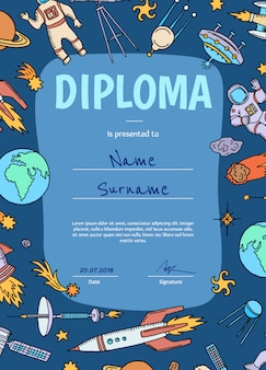 Vector diploma or certificate for children with space theme
