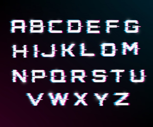 Vector distorted glitch font