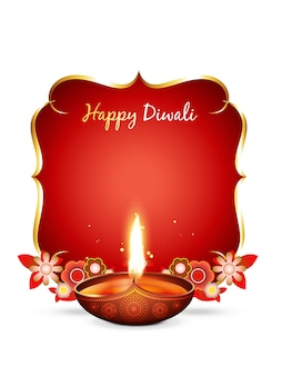 Vector diwali greeting with text space