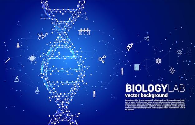 Генетическая структура днк вектора от точки соединяет линию полигон с значком. фон концепции для биотехнологии и биологии научных.