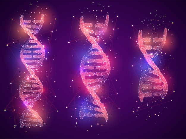 Vector dna spiral made of polygons and dots on colored background