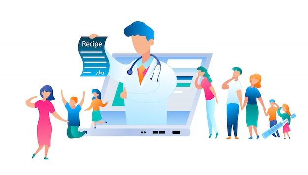 Vector doctor online has written treatment recipe. illustration group people turned help to pediatrician. family with sick child. use laptop for communication doctor. mom with son and daughter jumping