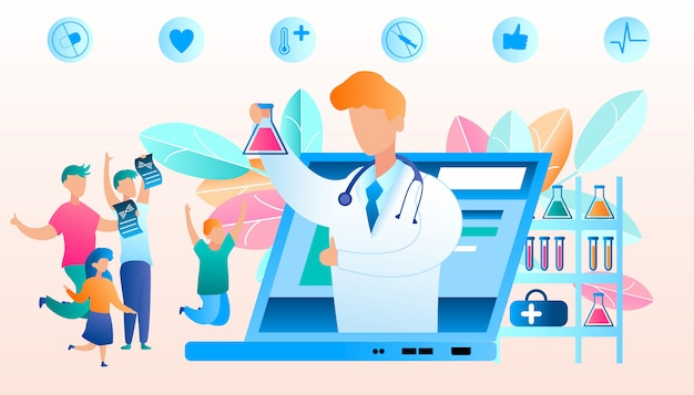 Vector doctor online reports good result analysis. flat illustration happy family jumping for joy after learning result study analysis. medical laboratory studying biological disease. laptop screen