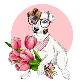 Vector dog. easter greeting card.