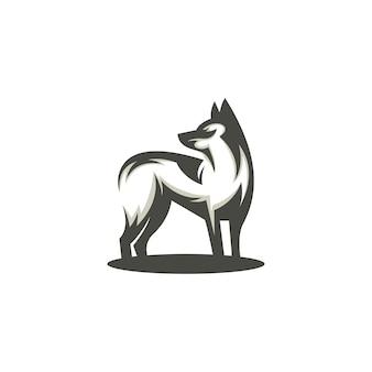 Vector dog silhouette simple modern