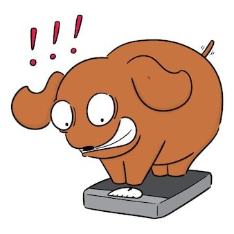 Vector of dog on weighing machine