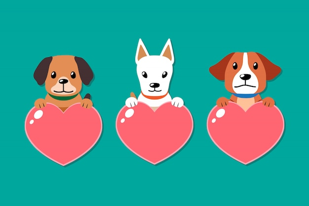 Vector dogs with heart signs set