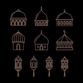 Vector dome and lantern icons