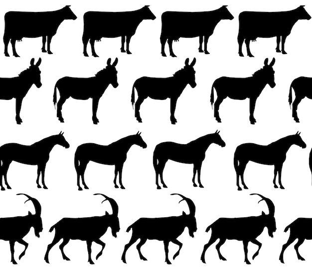 Vector domestic animals silhouettes seamless pattern