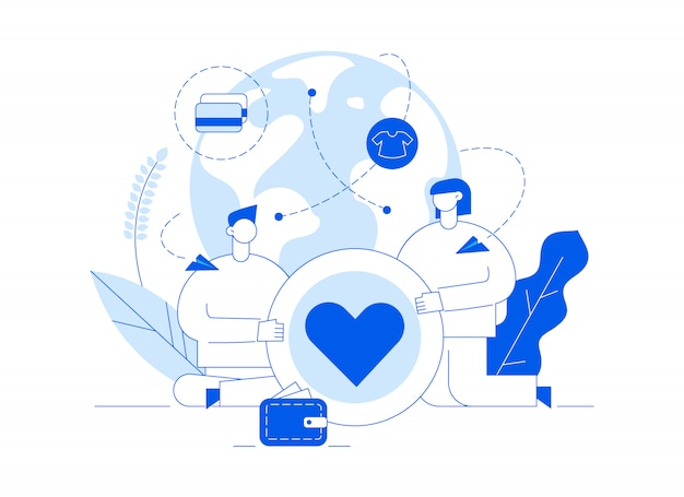 Vector donation service illustration with big people, heart, earth, volunteering man and woman