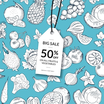 Vector doodle handdrawn fruits and vegetables vegan, healthy food sale background with hanging sale tag.