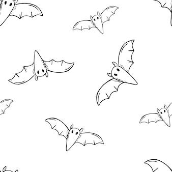 ベクトル落書きイラスト。コウモリのシームレスなパターン。ハロウィーンの装飾。